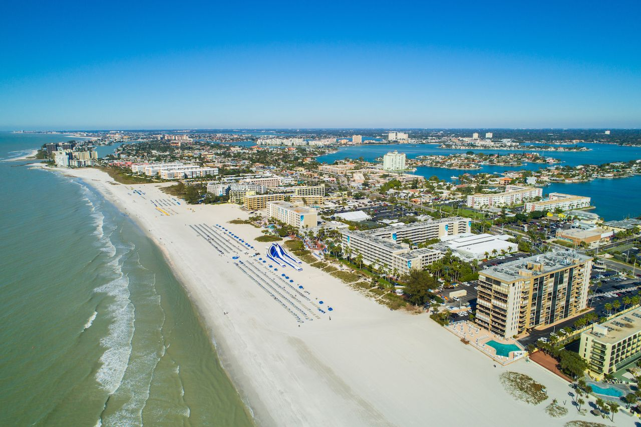 Aerial drone image of hotels and resorts on St Petersburg Beach Florida USA