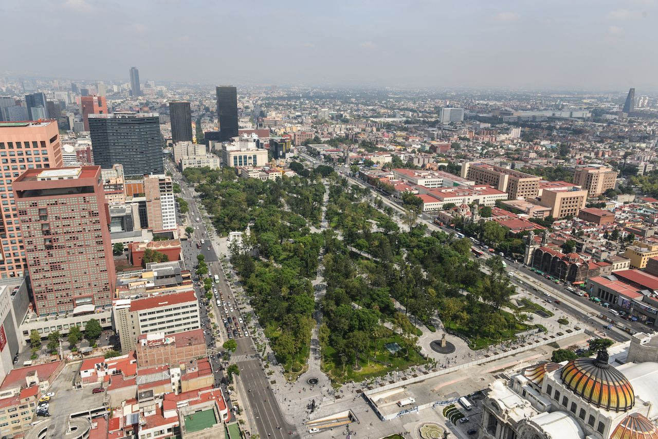 Aerial view of Alameda Central and the Palace of Fine Arts in Mexico City