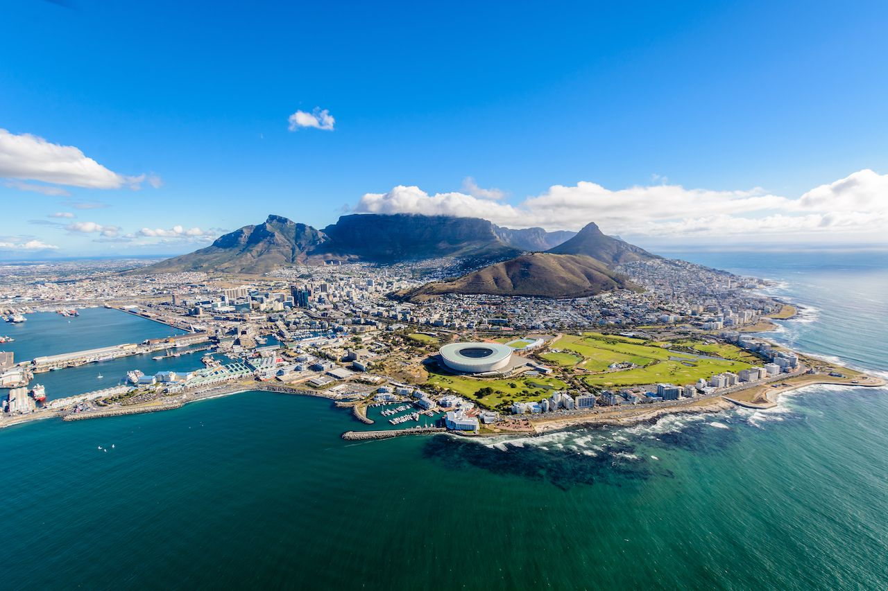 Aerial view of Cape Town, South Africa on a sunny afternoon