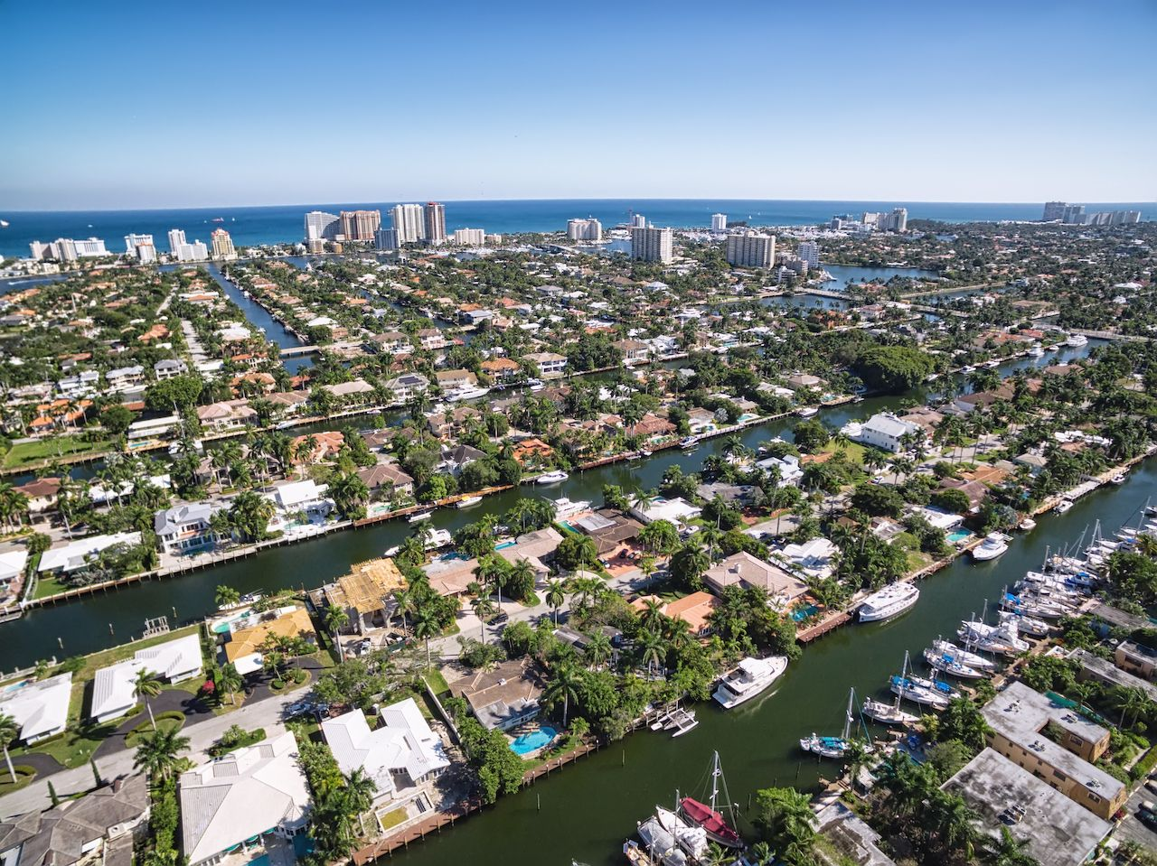 Aerial view of Fort Lauderdale Las Olas Isles, Florida