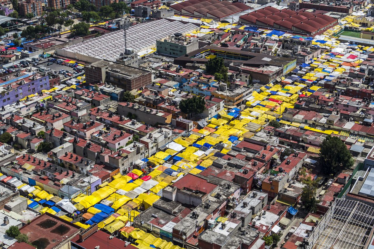 Aerial view of Tepito in Mexico City