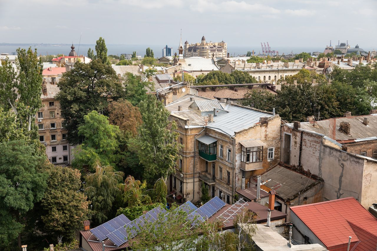 Aerial view of the roofs and old courtyards of Odessa
