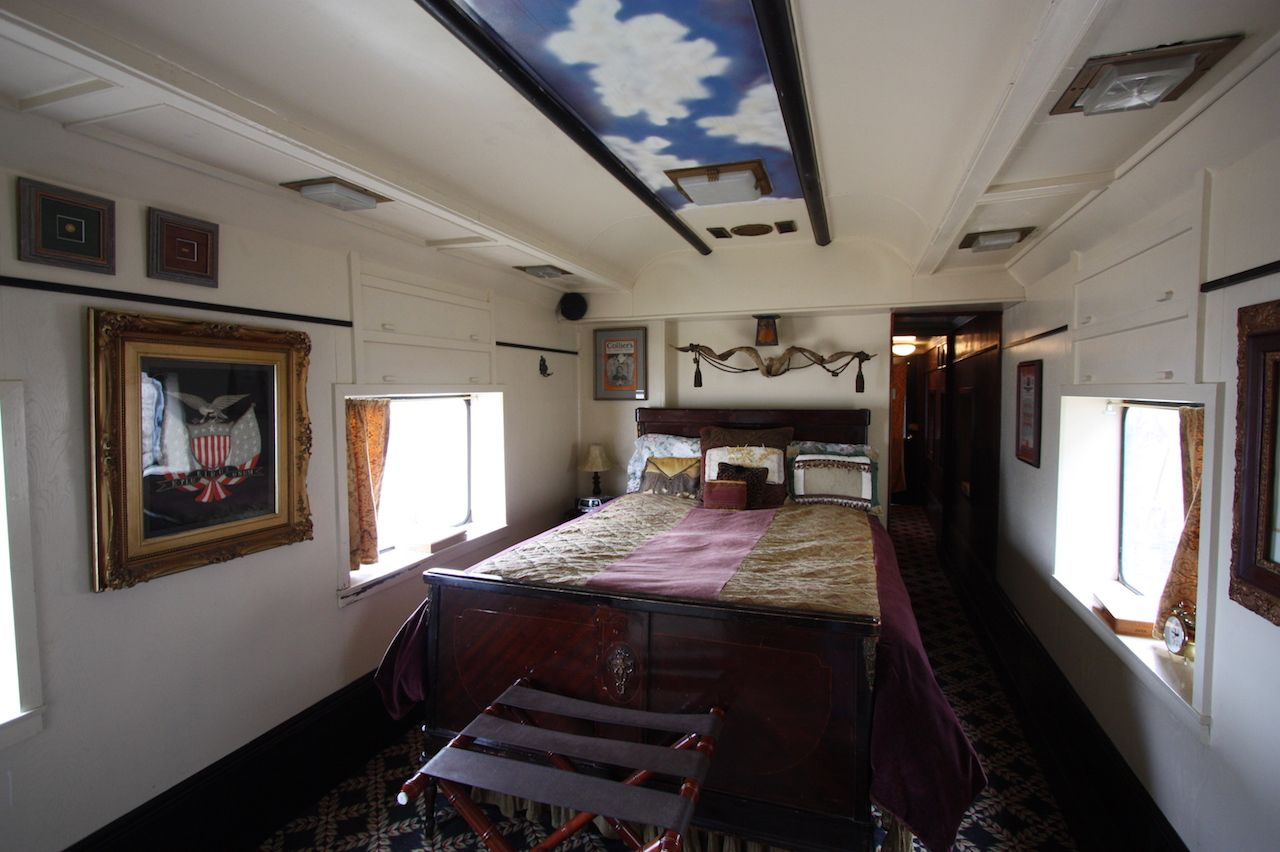 Airbnb in a converted train car bedroom
