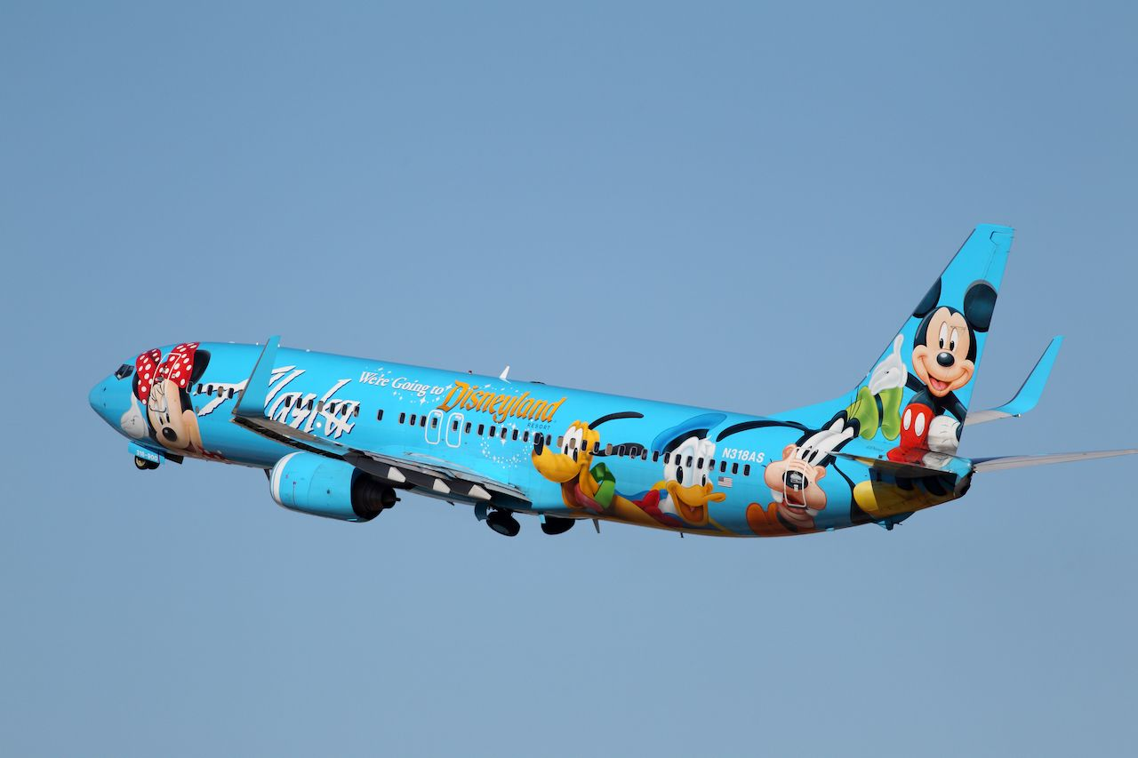 Alaska Airlines Spirit of Disneyland plane livery