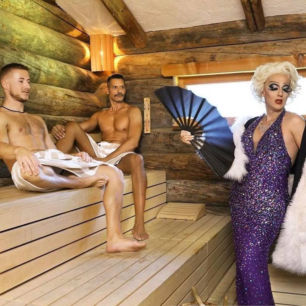 Arosa Gay Ski Week drag queen and guys in a sauna