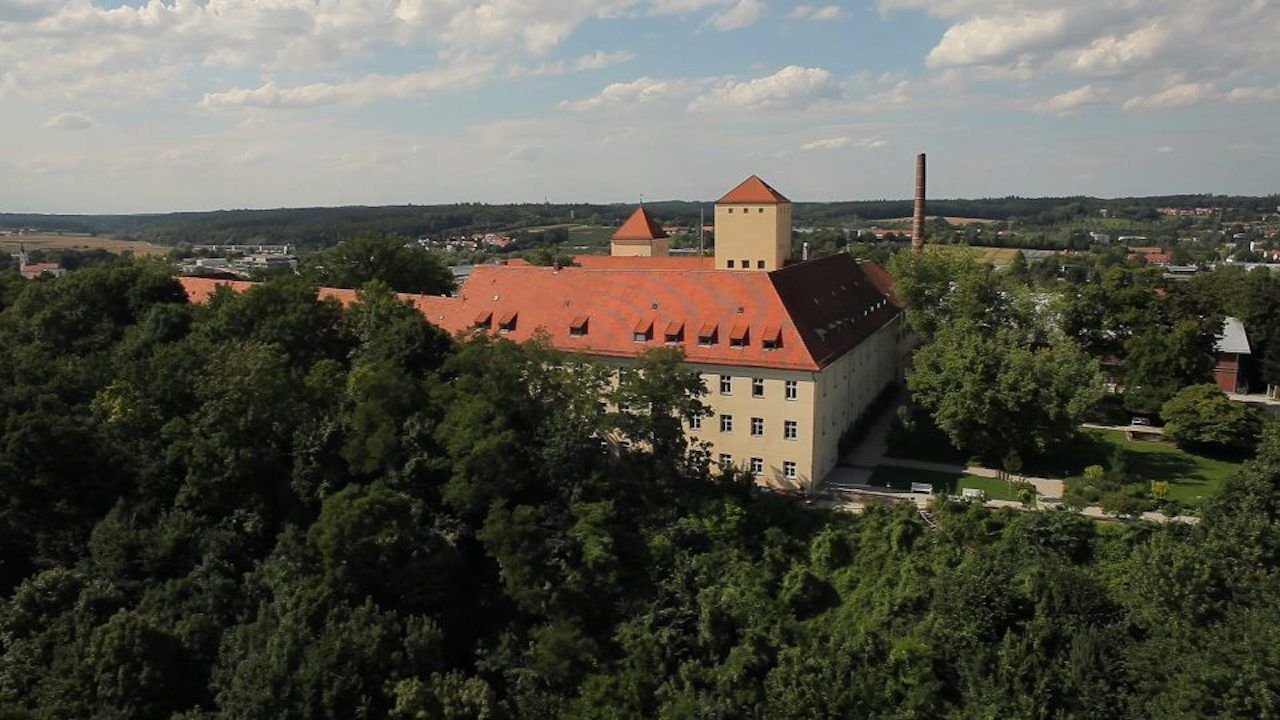 Bayerische Staatsbrauerei Weihenstephan brewery nestled in the greenery