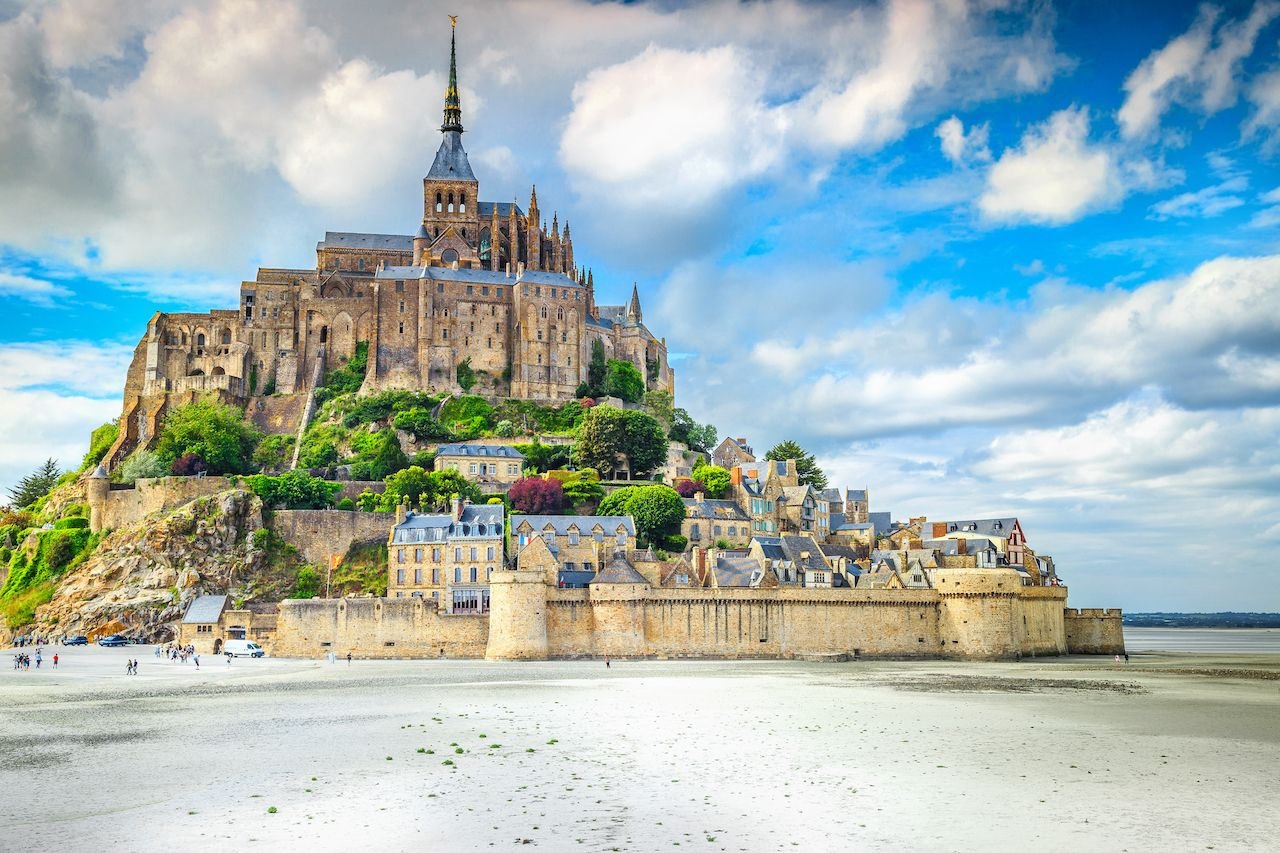 Beautiful Mont Saint Michel cathedral in Normandy, France