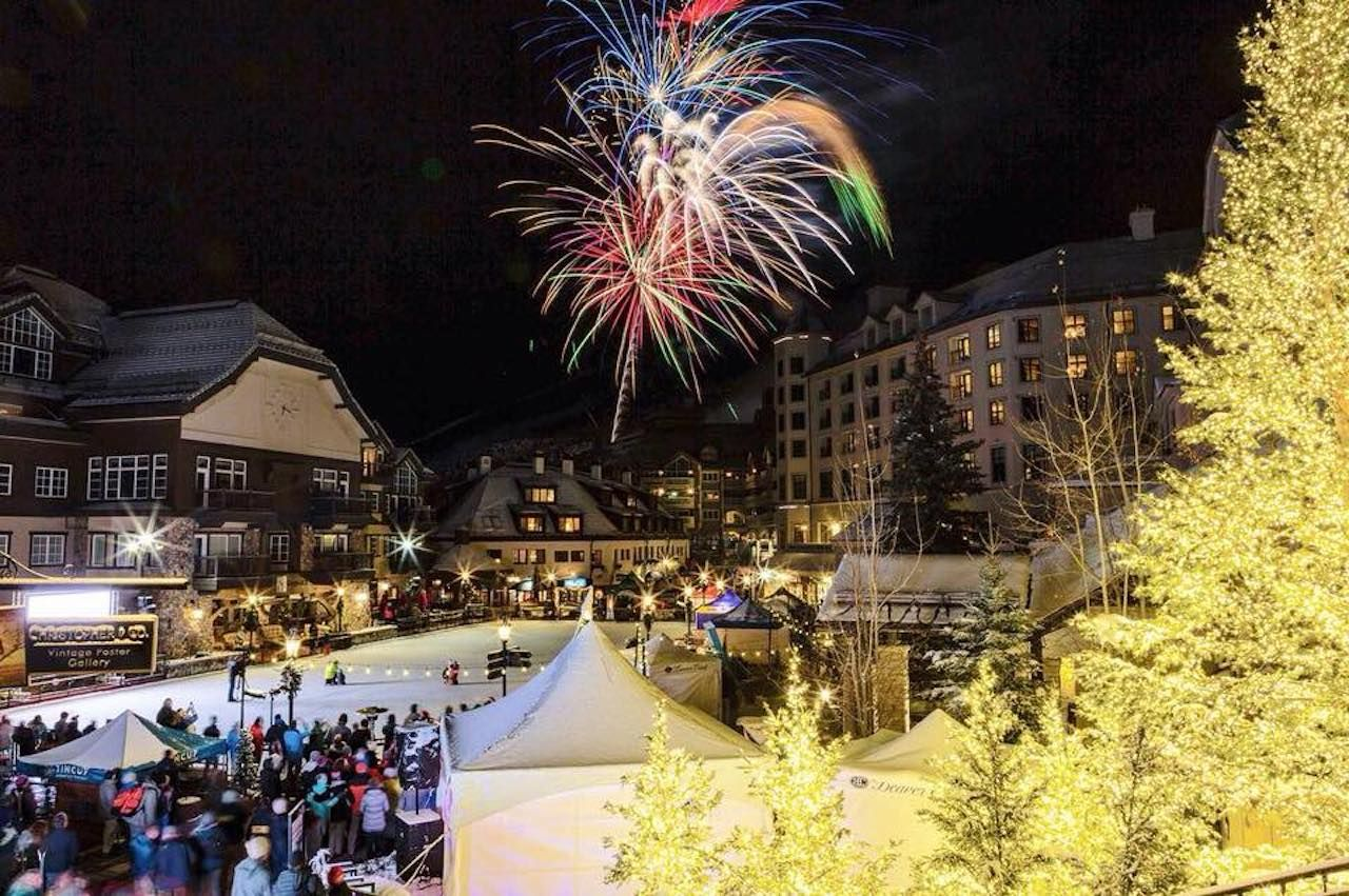 Fireworks over Beaver Creek Ski Resort's ice skating rink