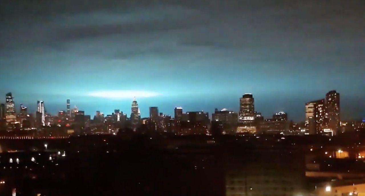 Strange blue light in New York City