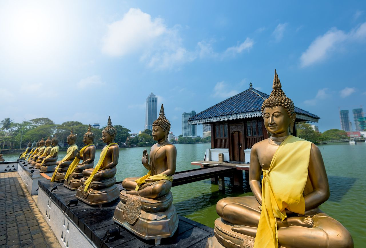 Buddha statues in Seema Malaka temple in Colombo, Sri Lanka