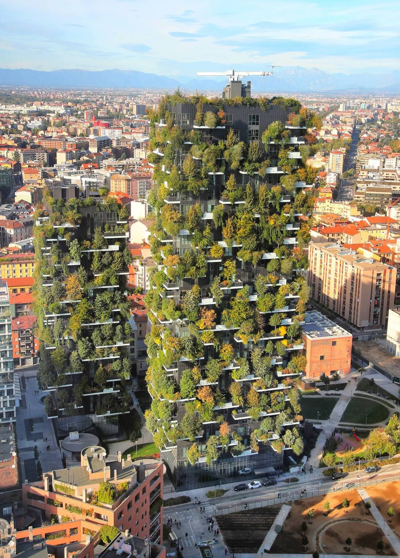 Building covered in trees, Milan's Library of Trees
