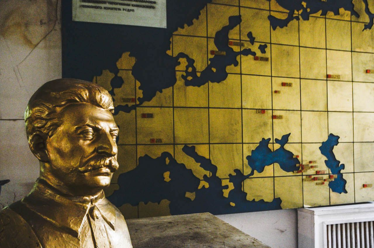 Bust of Stalin at his secret printing house in Tbilisi, Georgia
