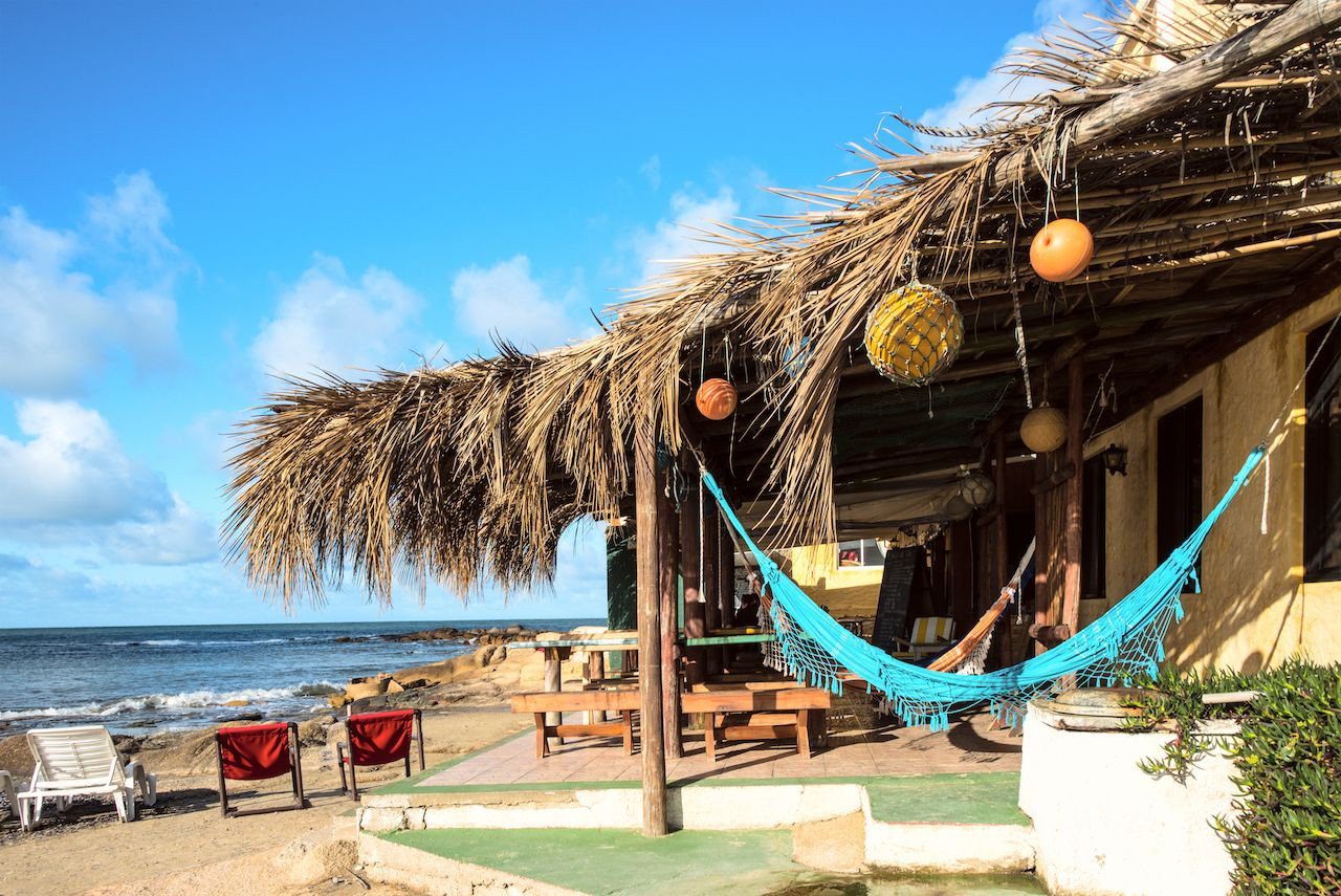Cabins and hammocks, Cabo Polonio, Uruguay