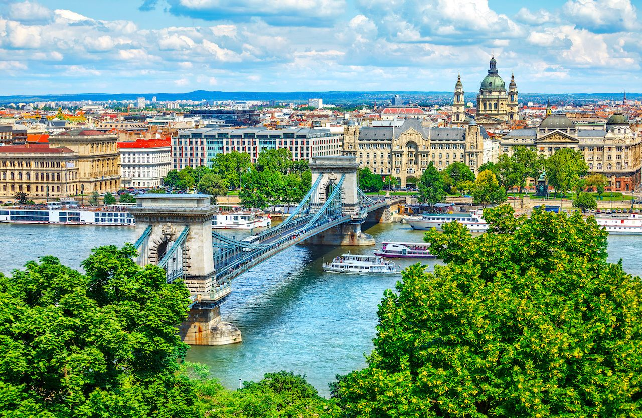 Chain bridge on the Danube river in Budapest city