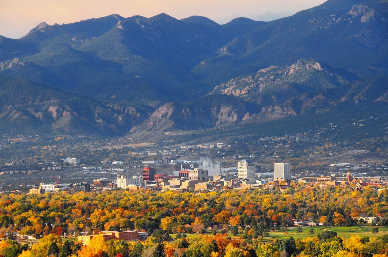Colorado Springs Downtown as seen from Palmer Park, Colorado