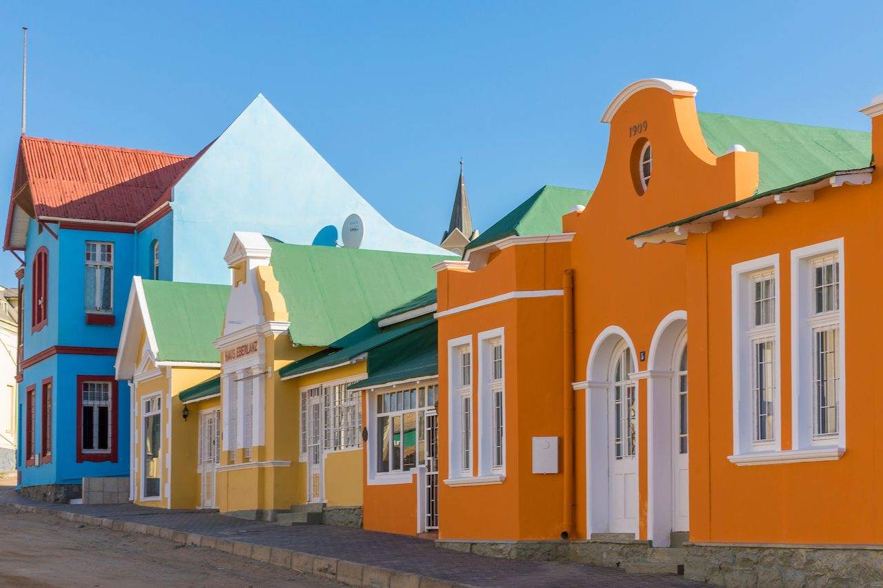 Colorful german colonial houses in Namibia