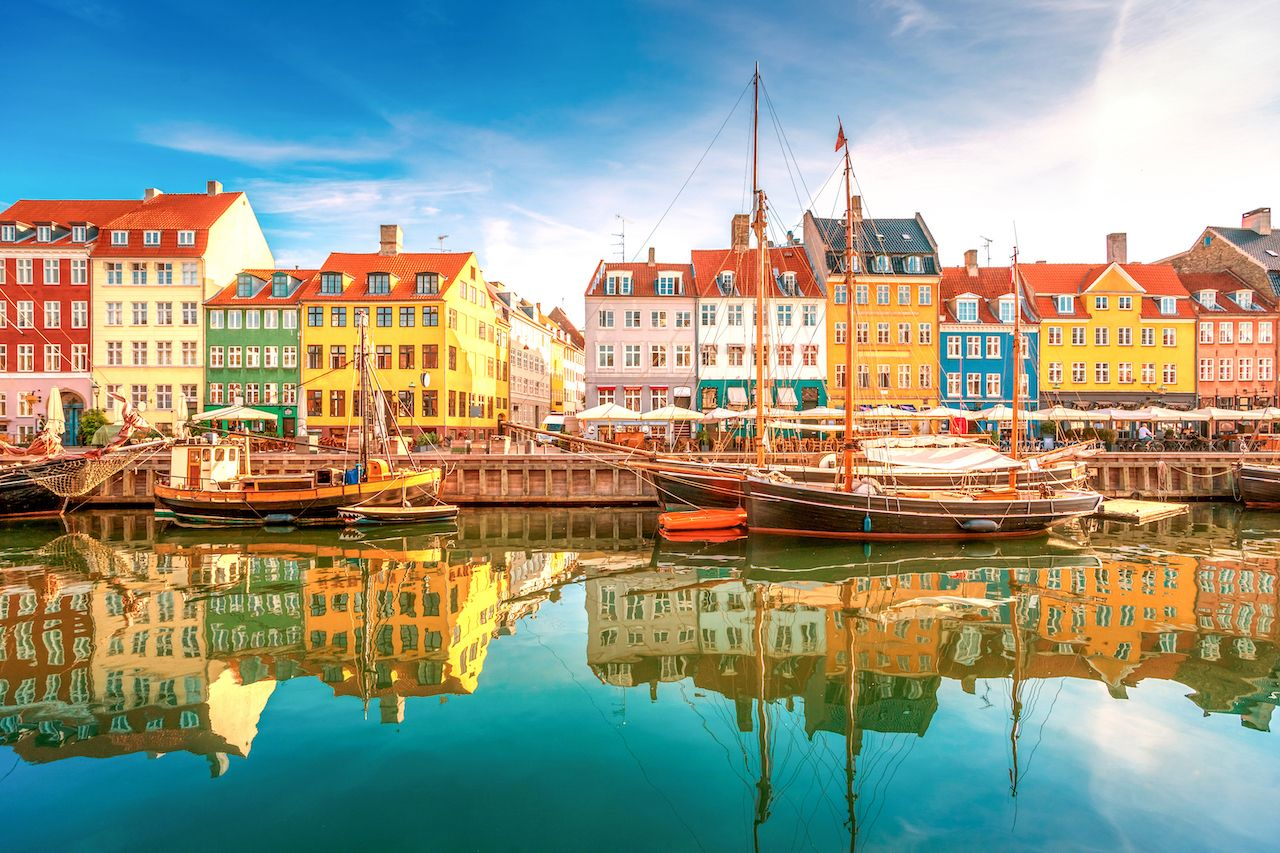 Colorful houses and boats on the water in Nyhavn, Copenhagen, Denmark