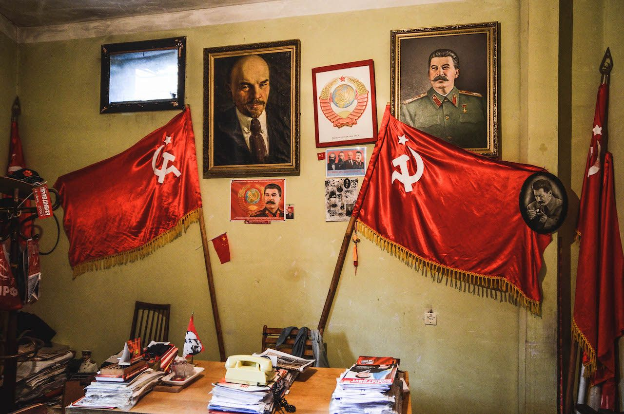 Communist paraphernalia at Stalin's secret printing house in Tbilisi, Georgia