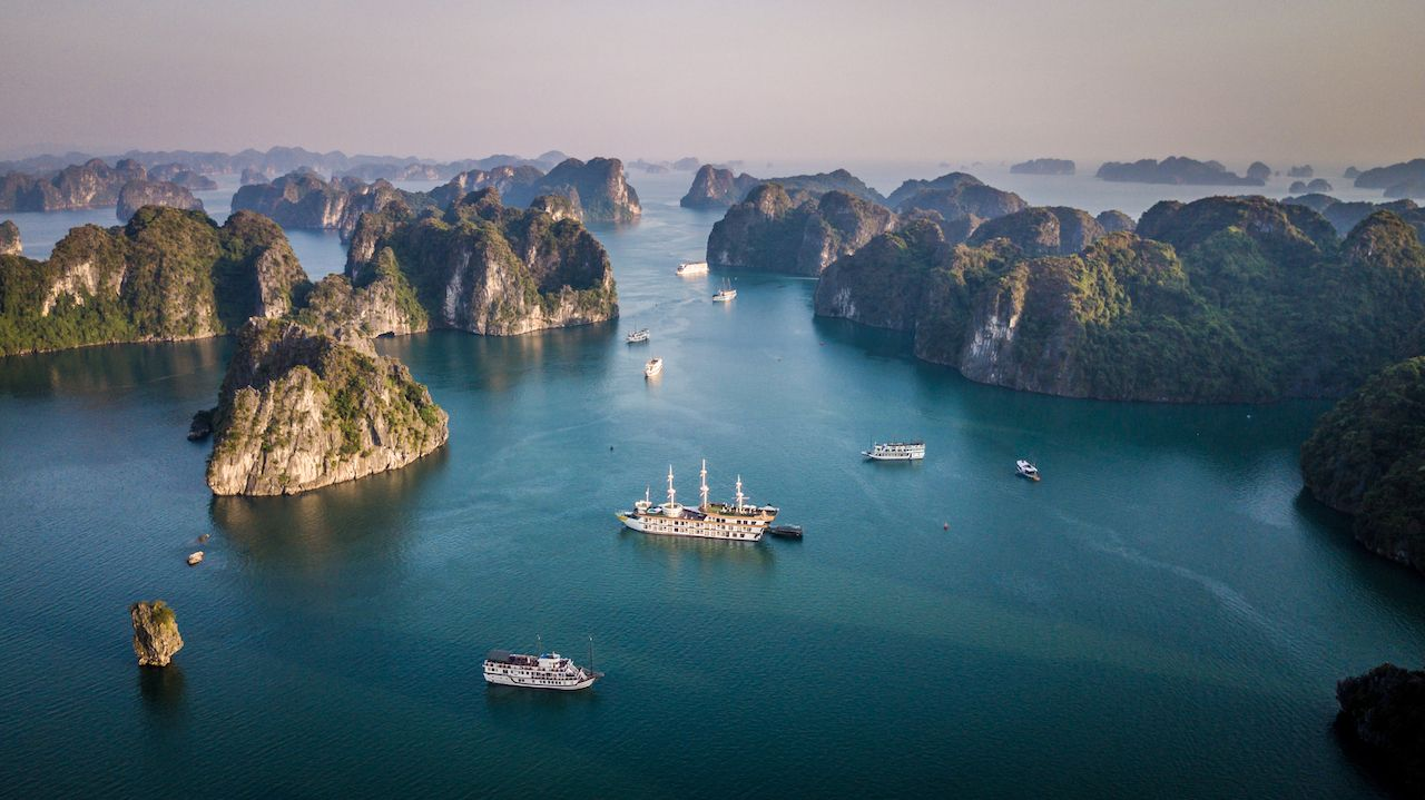 Cruising in Long Bay Bai Tu and Halong Bay, Vietnam