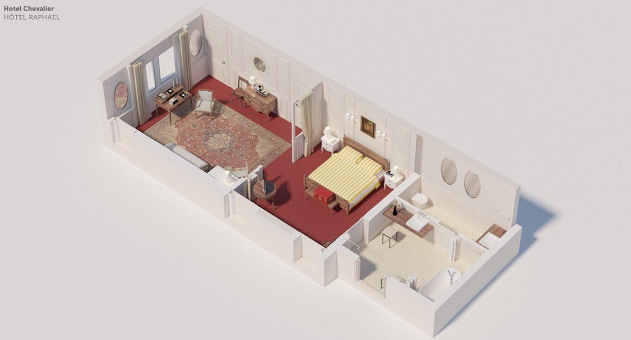 Darjeeling Limited hotel room floor plan