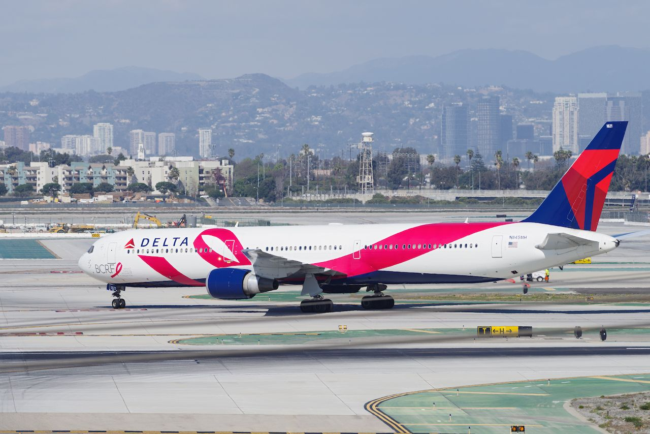 Delta Airlines Breast Cancer One plane livery