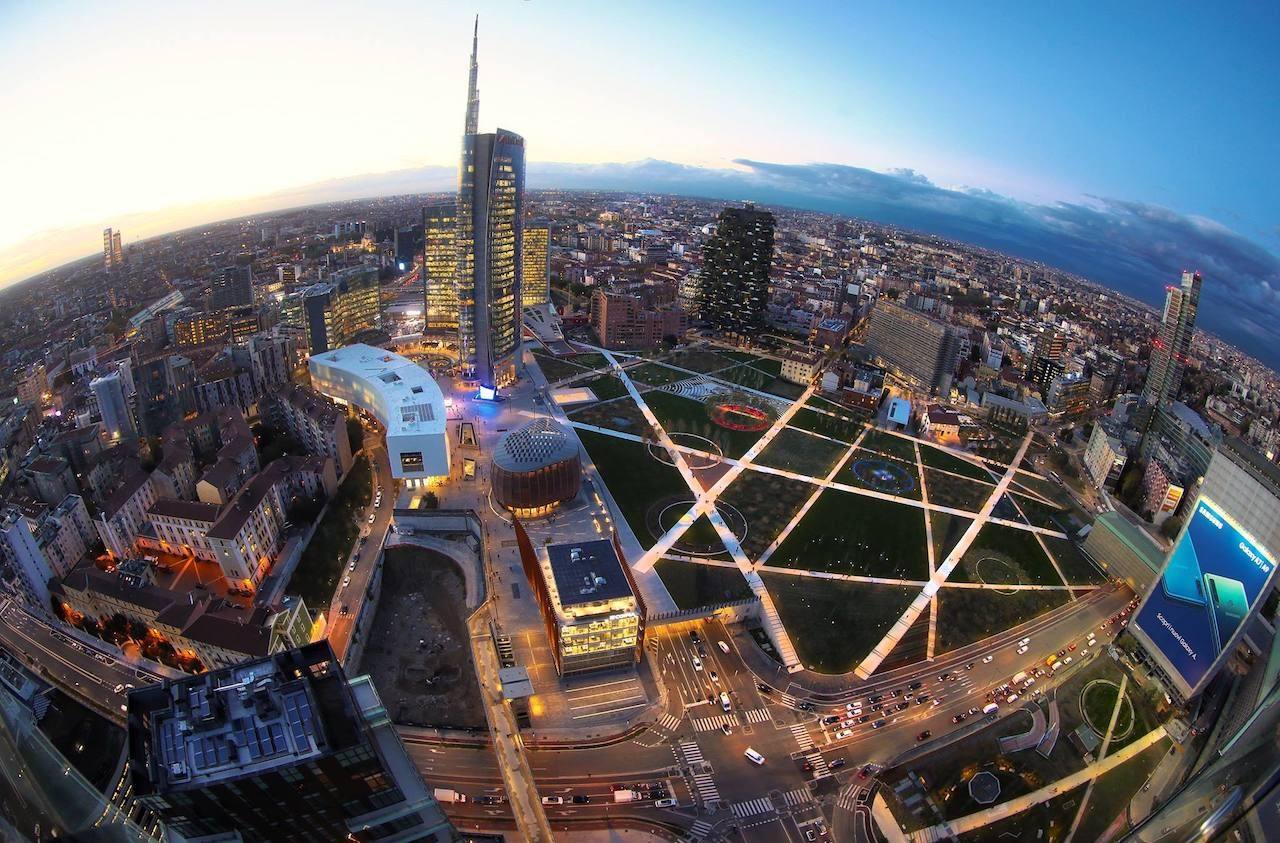 Different aerial view of Milan's Library of Trees