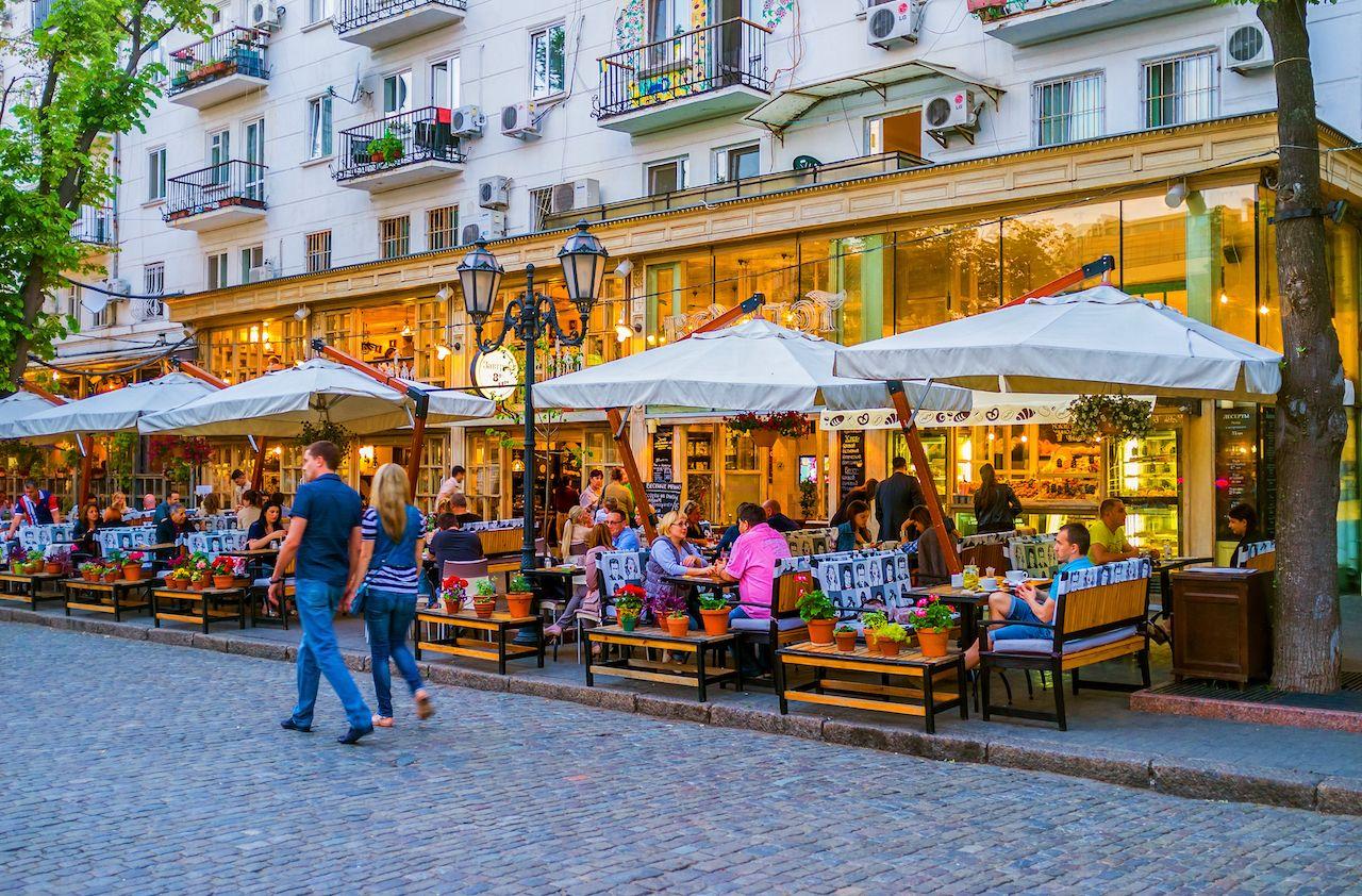 Diners in downtown Odessa, Ukraine