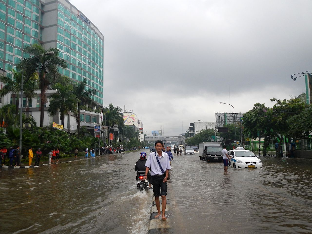 Flooded city streets in Jakarta, Indonesia
