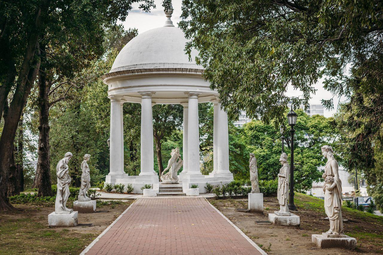 Gazebo and sculpture garden in Lezama Park in Buenos Aires, Argentina