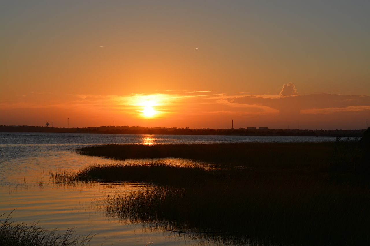 Golden Sunset at Pleasure Island in North Carolina