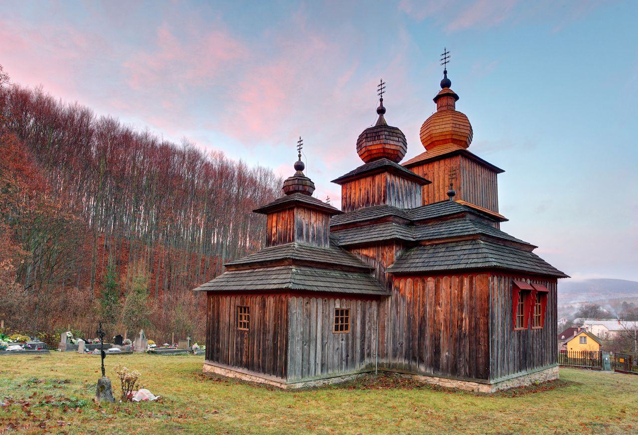 Greek Catholic Wooden church in Dobroslava, Slovakia