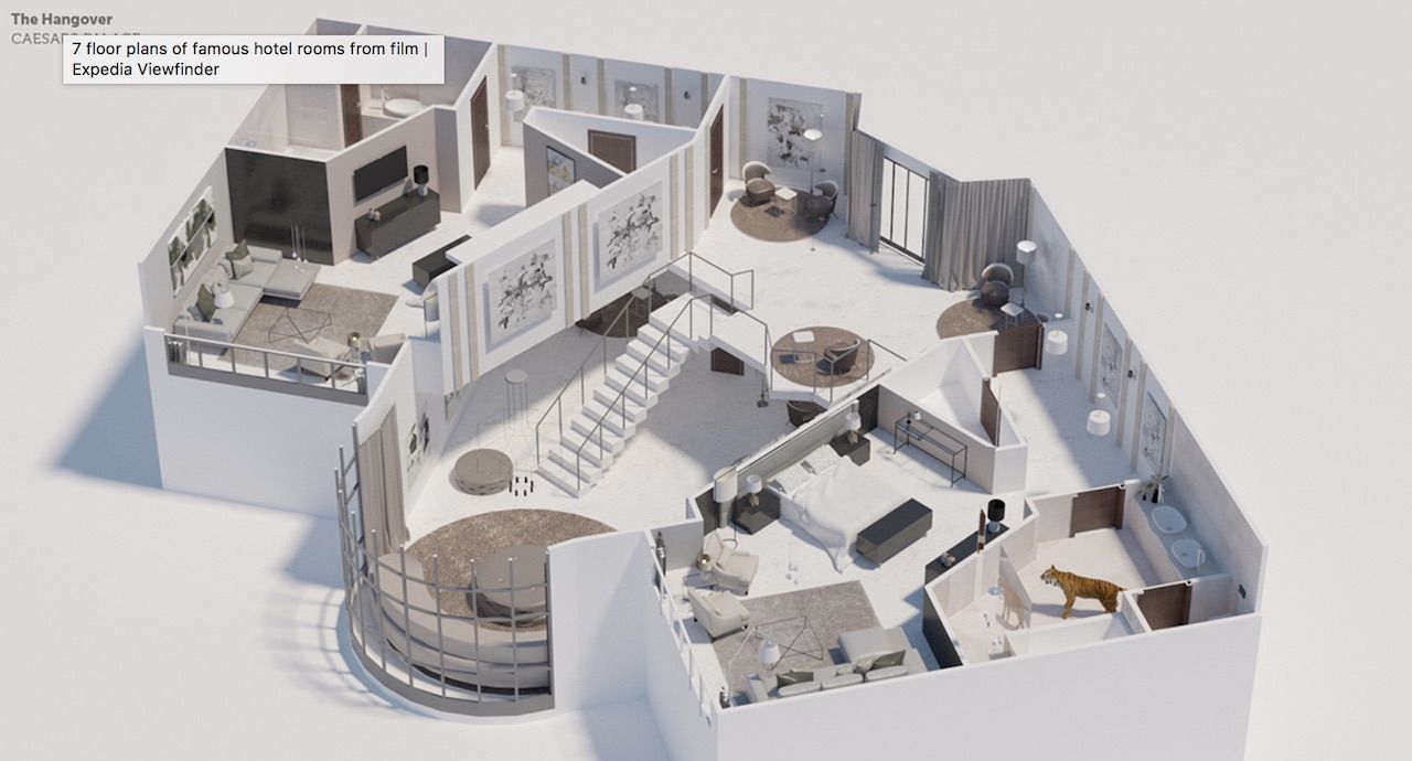 Floor plans from famous movie hotel rooms