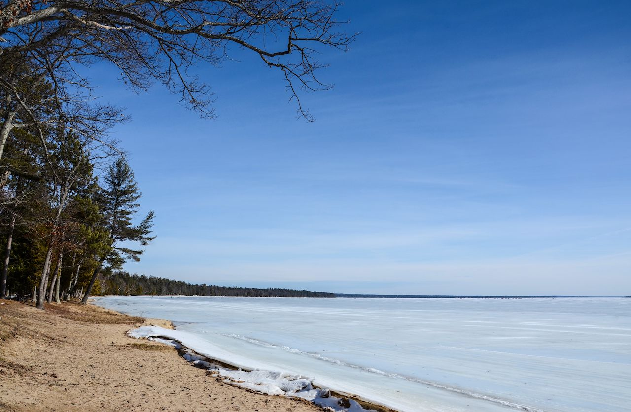Higgins Lake in Michigan frozen over in winter