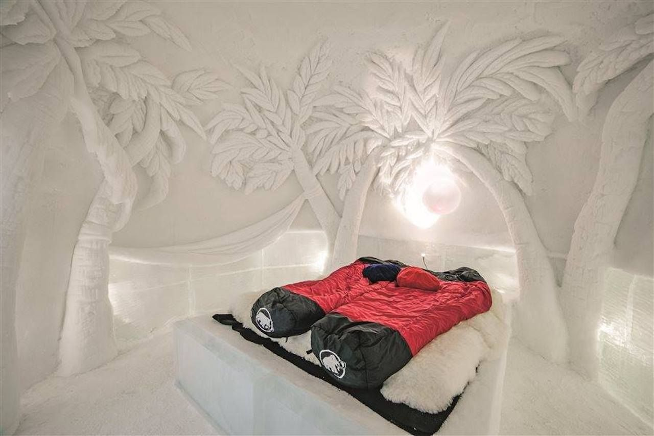 Ice hotel room with sleeping bags