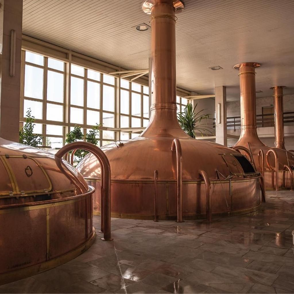 Inside a brewery with copper equipment