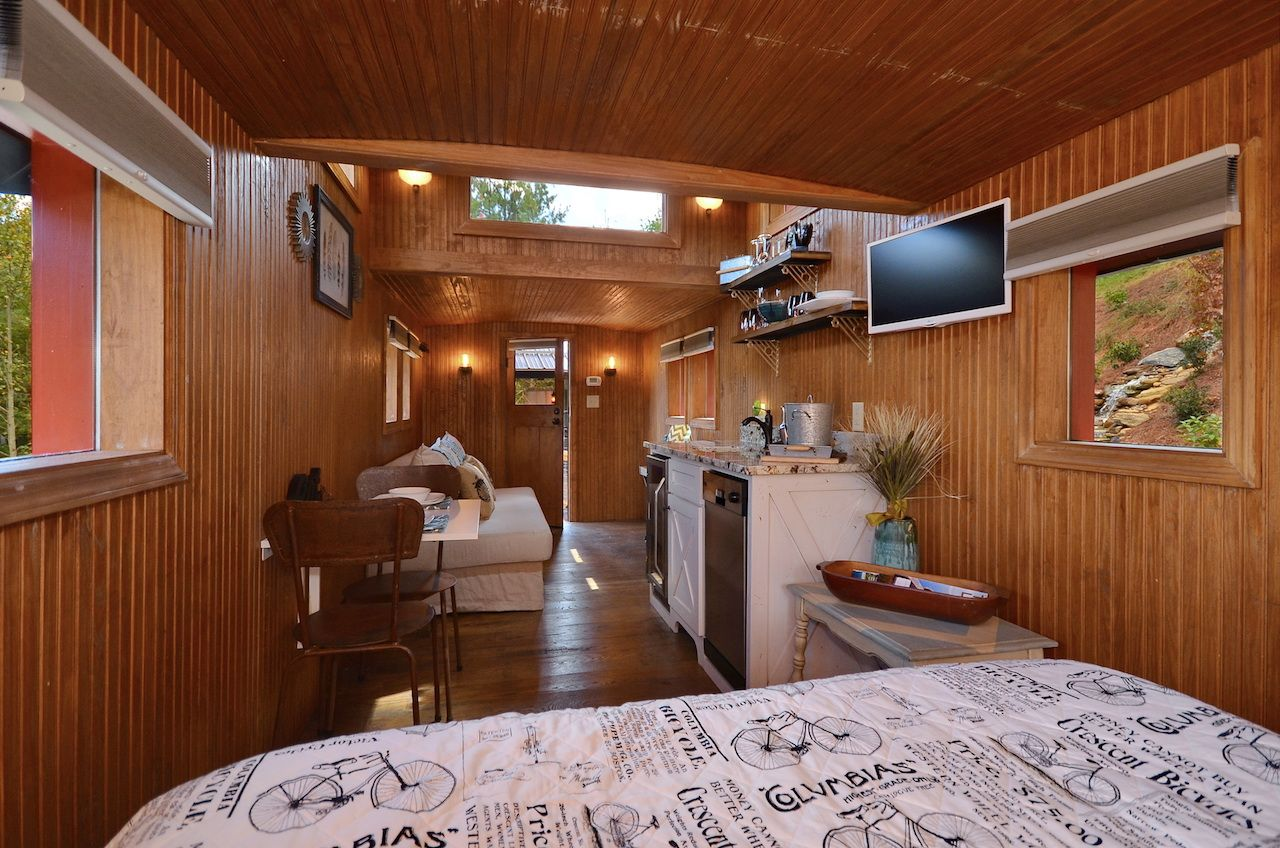 Inside a converted train accommodation