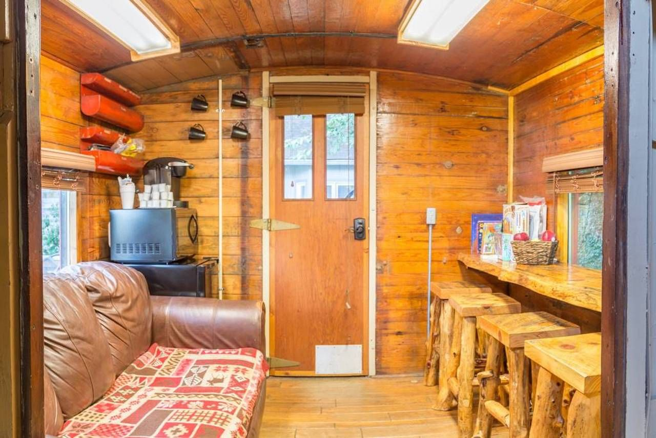 Inside a converted train, living room area