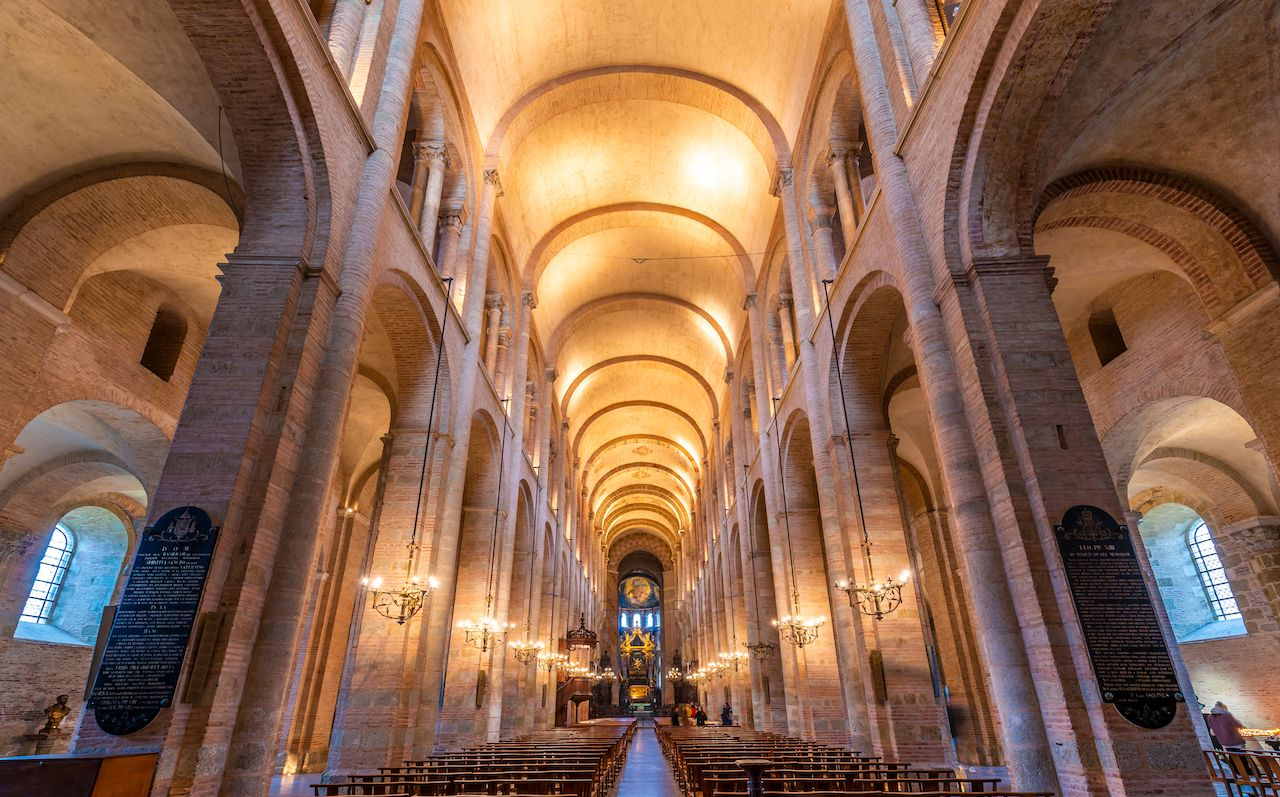 Interior of Saint Sernin basilica in Toulouse, France