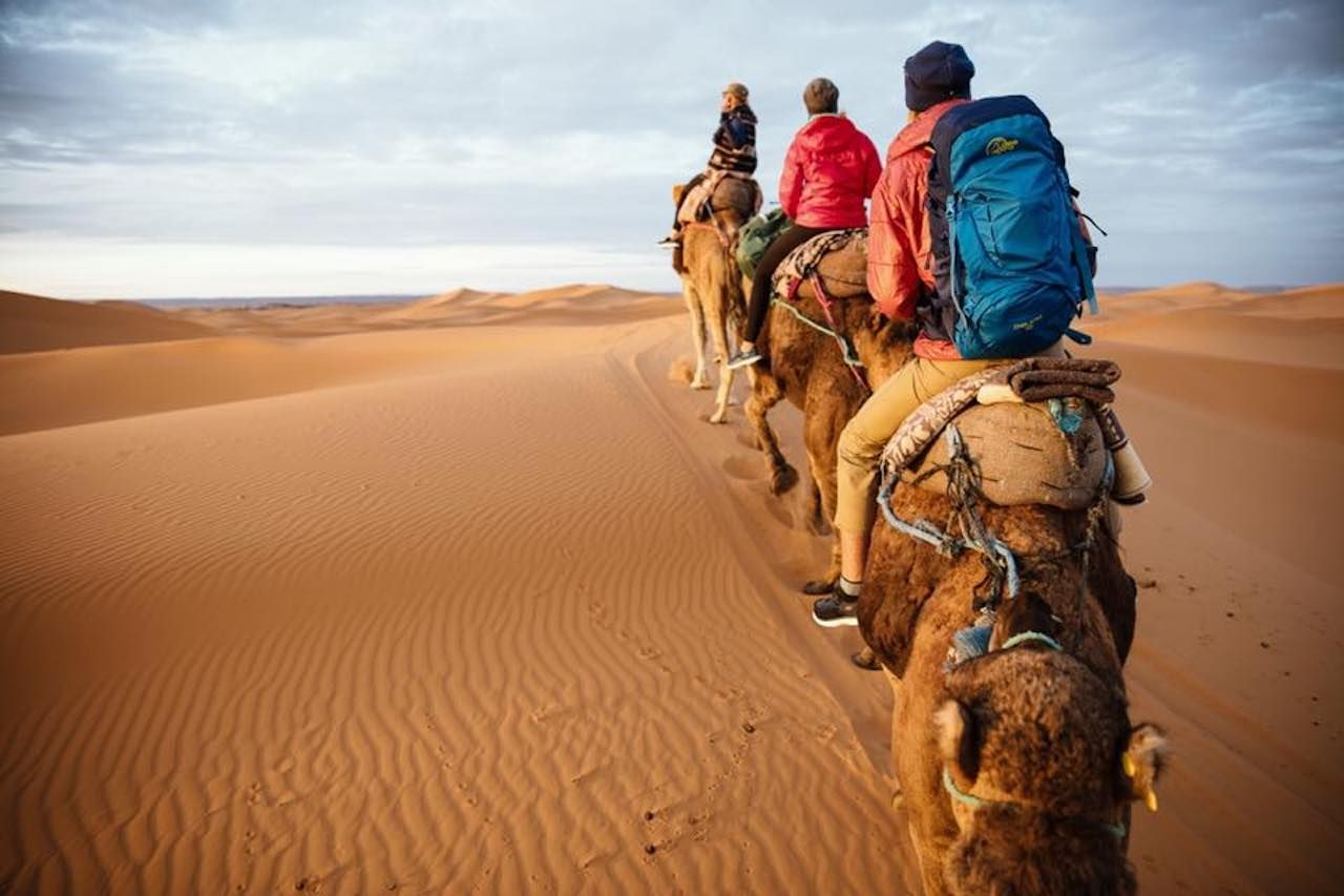 People riding camels through the desert