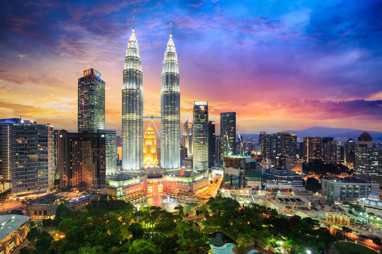 Kuala Lumpur city skyline at dusk