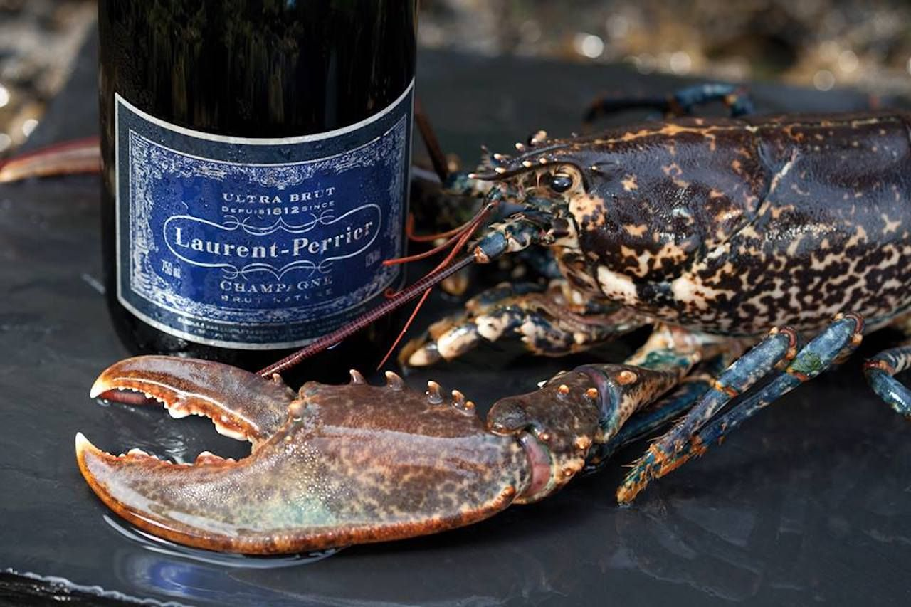 Laurent Perrier Ultra Brut Shampagne with a shellfish