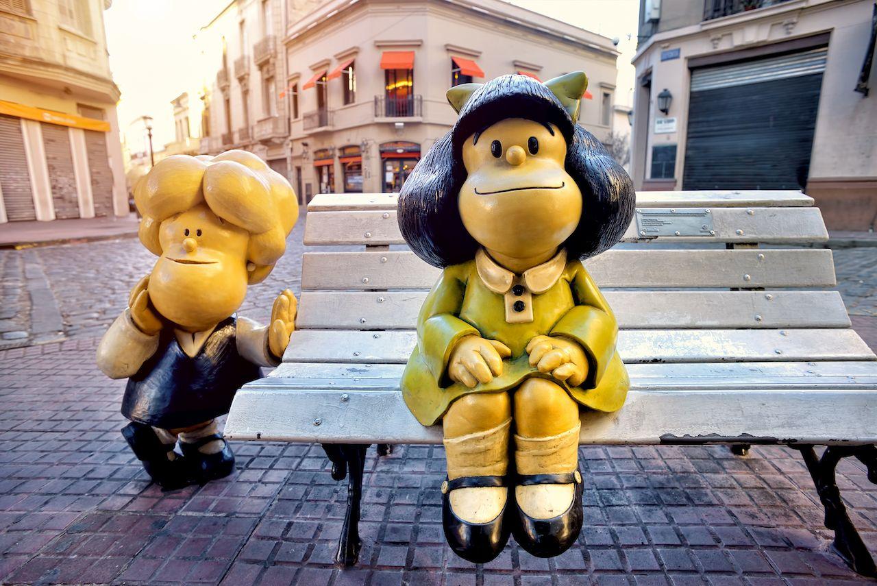 Mafalda statue in San Telmo, Buenos Aires, Argentina