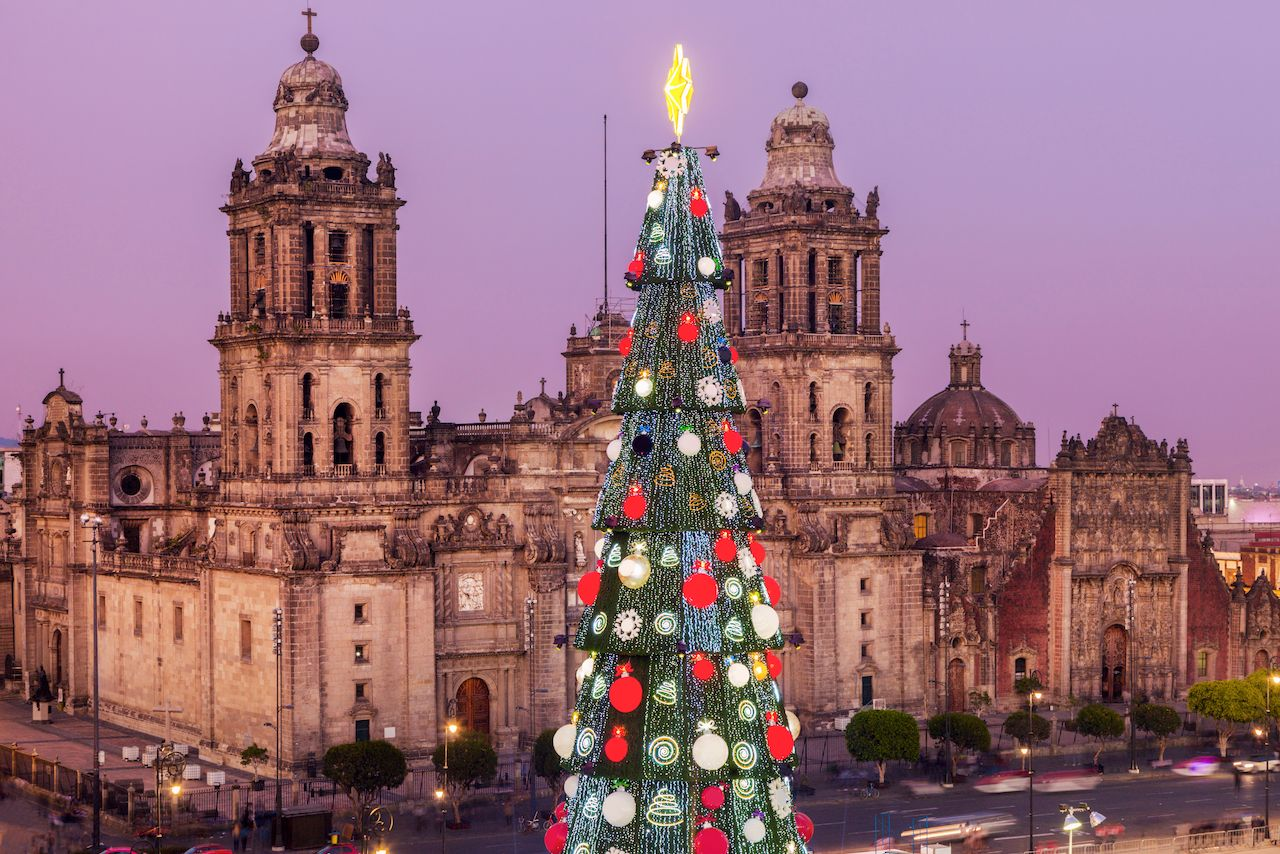 Metropolitan Cathedral and Christmas tree on Zocalo square in Mexico City, Mexico