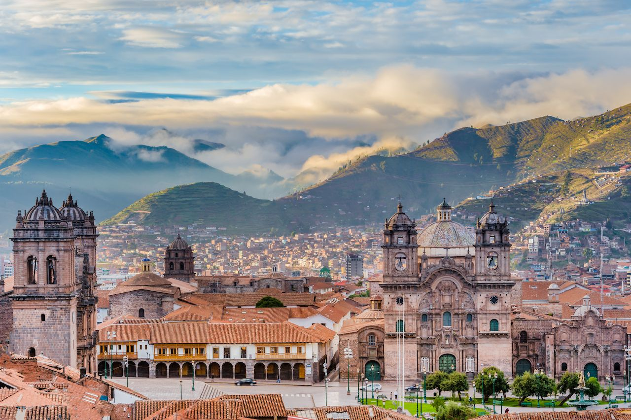 Morning sun rising at Plaza de Armas, Cusco, Peru