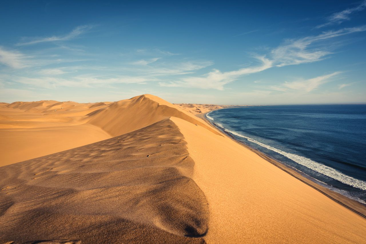 Namib Desert at Sandwhich Harbor in Namibia