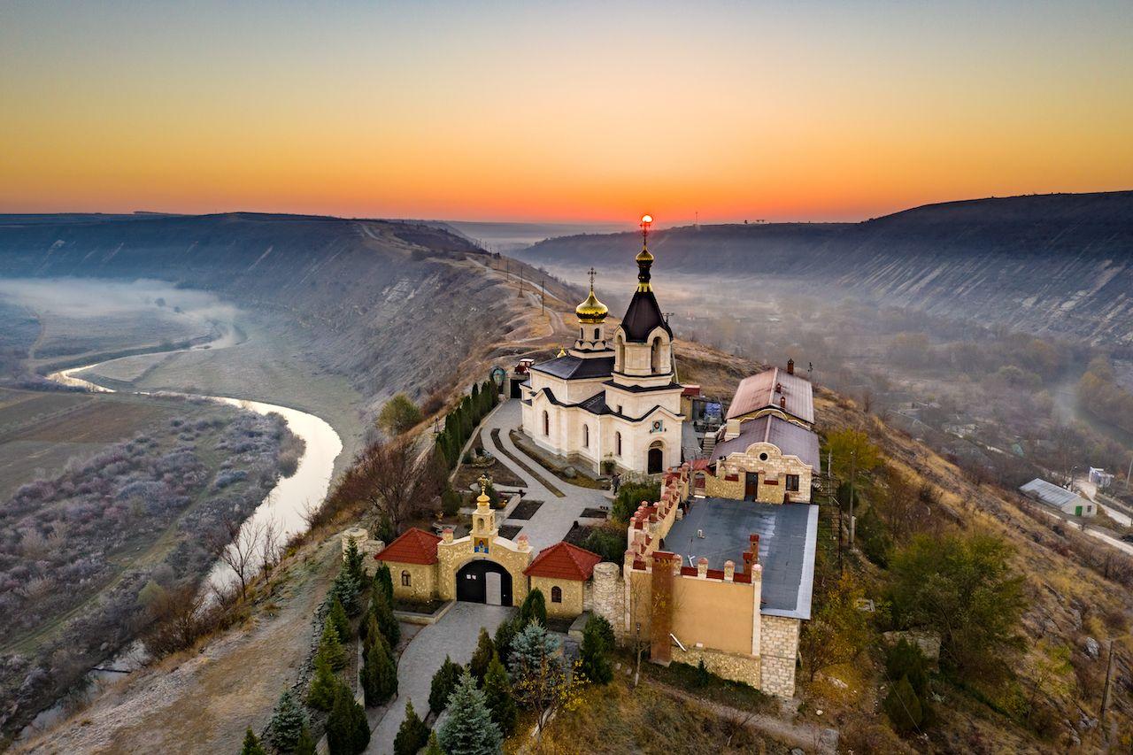 Old Orhei Monastery at sunrise in Moldova