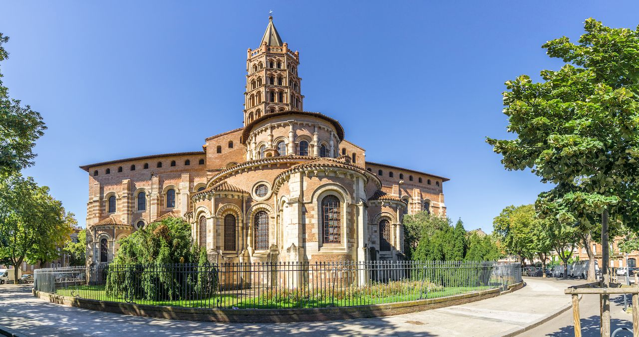 Panoramic view at the Basilica of Saint Sernin in Toulouse, France