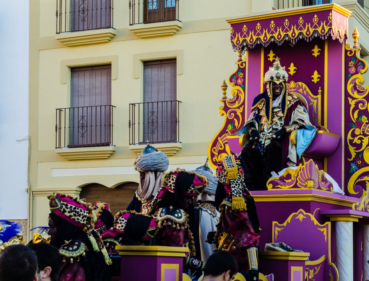 Parade on the occasion of the Epiphany holiday in Malaga province in Spain
