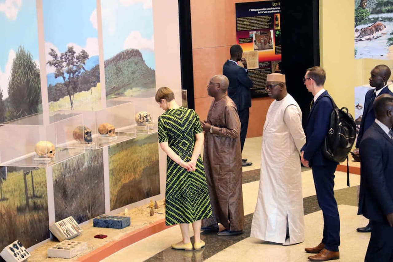 People looking at artifacts at Museum of Black Civilizations in Senegal