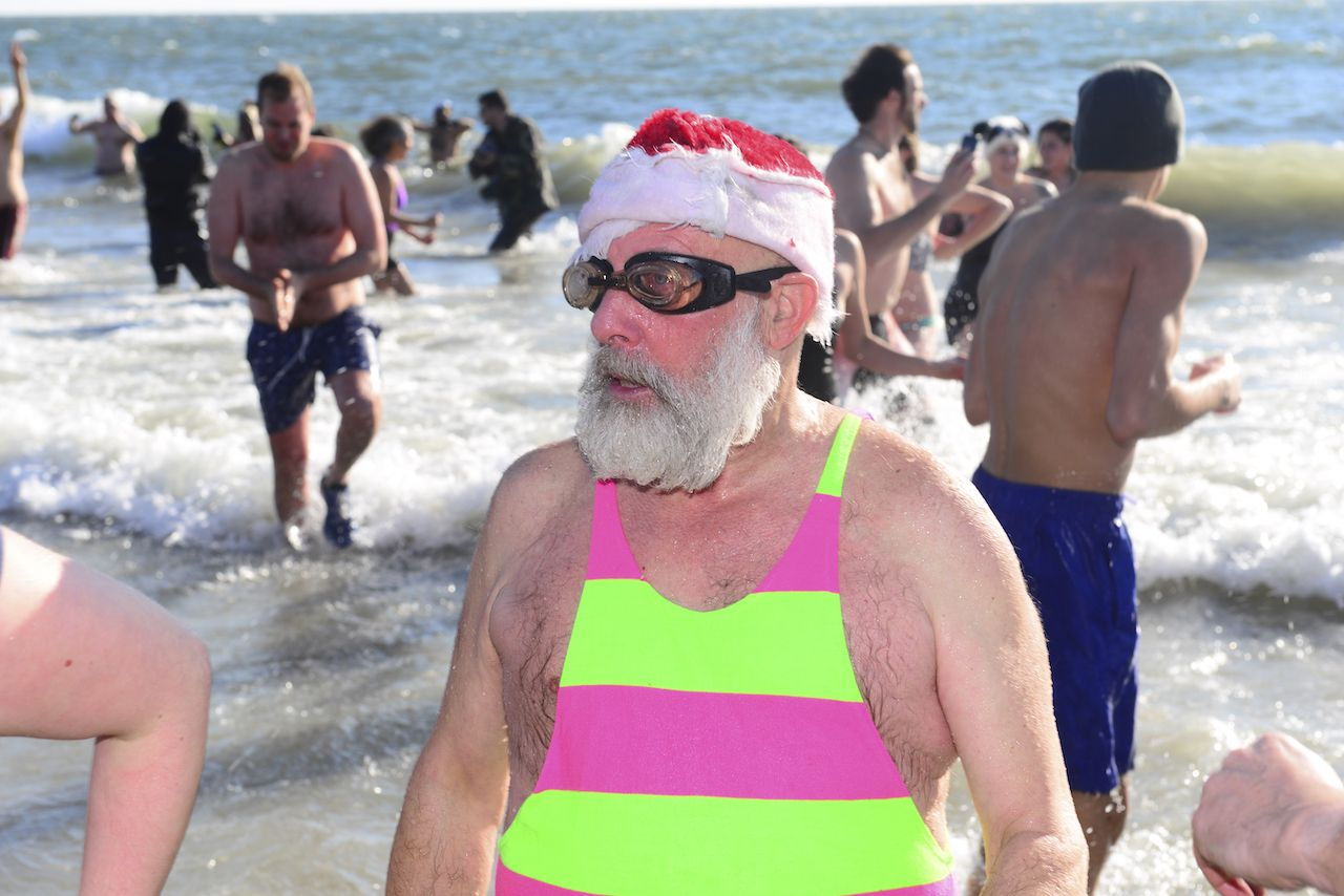 People taking part in the New Year's Day Polar Bear Plunge at Coney Island, New York